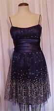 Masquerade Navy Blue & Silver Formal Prom Evening Dress size 9 / 10 Knee Length