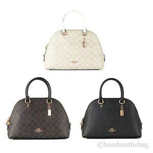 Coach Katy Signature Coated Canvas Leather Dome Satchel Crossbody Handbag Purse