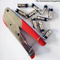 F-Type Compression Tool & 10x RG6 Connectors- Coaxial Crimping Crimper Sky Screw