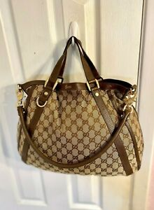 GUCCI CONVERTIBLE ABBEY Brown  GG Fabric & Leather Tote Carryall Bag Hobo Large