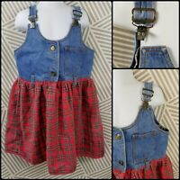 Vtg 80s 90s Girls Size 6/6X Dress Overall Skirt Tartan Plaid skirt buckle