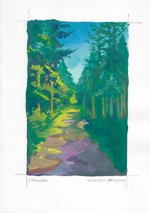 original painting A4 252MA art samovar modern gouache landscape forest