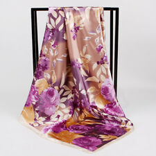 "Women's Vintage Flower Square Scarf Fashion Silk-Satin Head Shawl Wraps 35""*35"""
