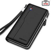 Men's Clutch Wallet Genuine Leather Long Purse For Men RFID  Large Capacity