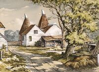RONALD DEAN R.S.M.A. (b.1929) LARGE SIGNED ENGLISH WATERCOLOUR - OAST HOUSES