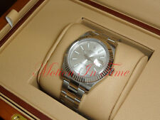 Rolex Datejust II Stainless Steel 18k White Gold Fluted Bezel Silver 41mm 116334