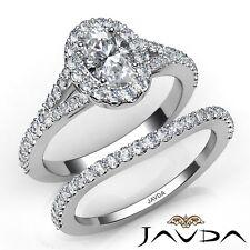 adefa74f1469 2ctw Intenso Lujo Calidad Set Nupcial Ovalado Anillo de Compromiso Diamante  GIA