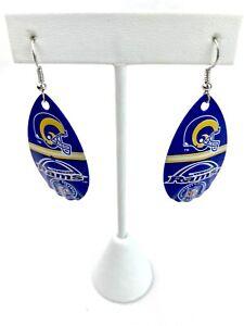 NFL St Louis Rams Team Logo Vintage Teardrop Spinner Women's Hook Earrings
