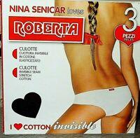 6 slip culotte vita bassa ROBERTA Tg 4 cotone elastico cuciture invisibili NERO
