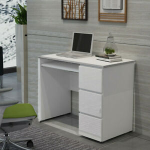 Corner Computer PC Desk Laptop Writing Table High Gloss w/ 3 Drawers Workstation