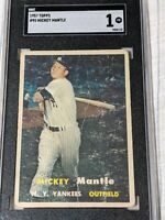 1957 Topps #95 Mickey Mantle YANKEES DEAD CENTERED SGC 1