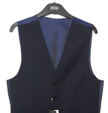 "M&S Marks Med 38-40"" Men Autograph Luxe Blue Wool Rich + Stretch Waistcoat BNWT"