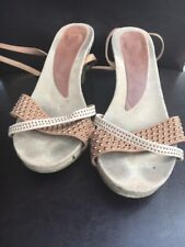 "Sandals Size 8 Wrap Strap Ankle 3"" Heel <T13748"