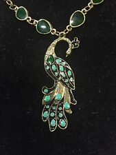 Vintage Green Enamel Peacock Necklace Pendant.