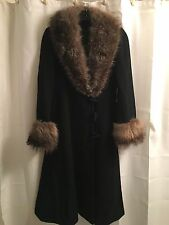 Vtg 80 Huge FOX Fur COLLAR CUFFS Princess WOOL Asymmetric JACKET Cape COAT XS S