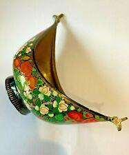 More details for vintage kashmiri hand decorated papier maché on brass kashkul beggar's bowl