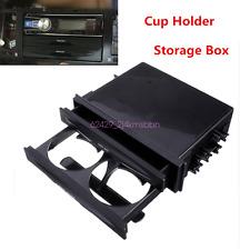 Universal Black Car Truck Double Din Radio Pocket Drink-Cup Holder Storage Box