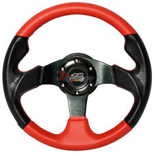 320mm JDM Style 6-Bolt Black Red PVC Leather Steering Wheel Carbon Fiber Look