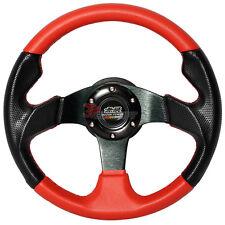 320mm JDM Style 6-Bolt Black Red PVC Leather Steering Wheel Carbon Fiber Look