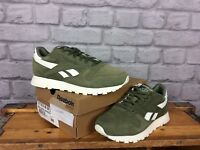 REEBOK LADIES UK 3 EU 35.5 KHAKI GREEN LEATHER SUEDE CLASSIC TRAINERS