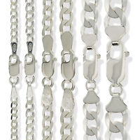 STERLING SILVER CURB CHAIN FLAT D/CUT LINK NECKLACE LADIES GENTS BRACELET BOXED