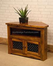 Solid Indian Rosewood Sheesham Corner TV Stand Cabinet Unit - 80cm Jali doors
