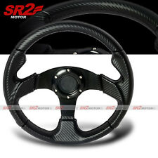 Universal Carbon Looks 350mm PVC Leather Racing Steering Wheel with Horn JDM