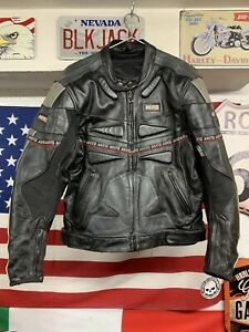 Mens AKITO Black Leather Motorcycle Sports / Racing Jacket Size 46 Armour Biker