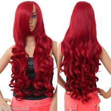 """Hot Fashion Women's Wig Long Curly Anime Cosplay Wigs 80cm/32"""" Wine Red"""