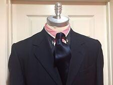 DAVE DE ROMA Navy Blue Blazer, 100% Wool 3 Button Notch Lapel Size 40 Long