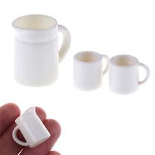White Mugs 1:12 DollHouse Miniature Cups & Pot Set Dollhouse Kitchen Toy  new JG