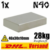 Neodym Magnet Quader 46x30x10mm N40 28kg Zugkraft - Hochleistungsmagnet Magnetic