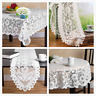 Vintage White Lace Floral Tablecloth Polyester Table Runner Wedding Party Cover
