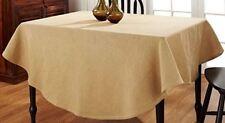 "Primitive Country Burlap Tablecloth 70"" Round Tan Cotton Farmhouse Kitchen"