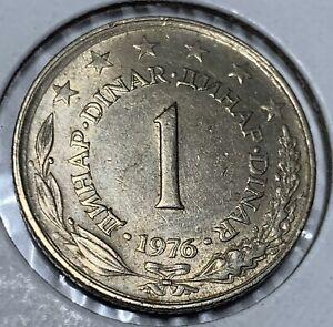 Coin, DOUBLE DIE DATE, Yugoslavia, Dinar, 1976, AU Condition, Copper-Nickel-Zinc