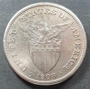 Philippines - U.S. Administration, Silver One Peso, 1908S, lustrous