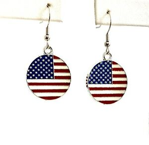*IAJ* Silver-plated Enameled American Flag Discs, Silver-filled French Hooks