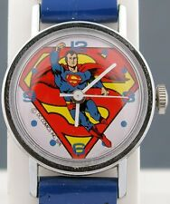 Vintage wind-up Superman Timex Comic Character Watch w/ Original Band Small Size