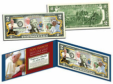 POPE FRANCIS * 2015 USA Visit * Papal Colorized $2 Bill US Genuine Legal Tender