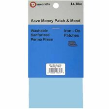 Iron-On Mending Fabric Repair Patch 6.5 x 14 Inch Compare to Bondex - Light Blue