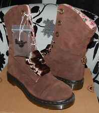 Rare Dr Martens Aimilie (Triumph) Brown Suede Floral Steampunk Boots 5US 3UK