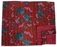 Indian Handmade Queen Ikat Throw Kantha Quilt Reversible Bedspread Blanket Ralli