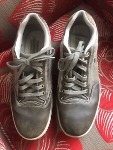 SKECHERS Relaxed Fit Memory Foam Trainers - Size 12 - Grey and Khaki - Used