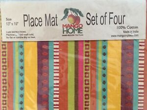 New Mango Home Hand-Woven Textile  Placemats Set of 4  Fall, Multicolor Print