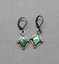 Vintage Silver Green Turquoisie  Harvey Era Screwback to Pierced Dangle Earrings