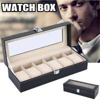 6 Slot Watch Box Leather Display Case Organizer Removable Pillows USA
