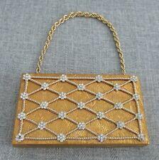 Vintage EVANS Gold Rhinestone Metal Compact Make Up Evening Bag Purse