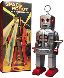 SPARKY ROBOT SPACE TOY MECHANICAL WINDUP TIN TOY SILVER