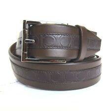 B-331119 New Salvatore Ferragamo Brown Leather Chrome Buckle Size 46 Fits 44