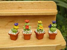 Miniature Dollhouse Fairy Garden Accessories ~ Set of 4 Cactus Plants in Pots